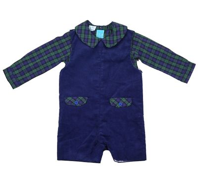 Claire & Charlie Baby / Toddler Boys Navy Blue Corduroy Shortall with Blackwatch Plaid Shirt