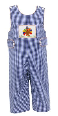 Claire & Charlie Baby / Toddler Boys Navy Check Crochet Thanksgiving Turkey Longall