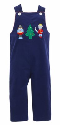 Claire & Charlie Baby / Toddler Boys Navy Blue Corduroy Nutcracker Longall - Reverses to Red Check