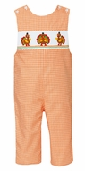Claire & Charlie Baby / Toddler Boys Orange Check Smocked Thanksgiving Turkeys Longall