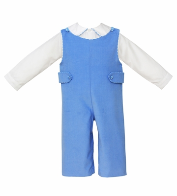 Claire & Charlie Baby / Toddler Boys Periwinkle Blue Corduroy Longall with Piped Shirt