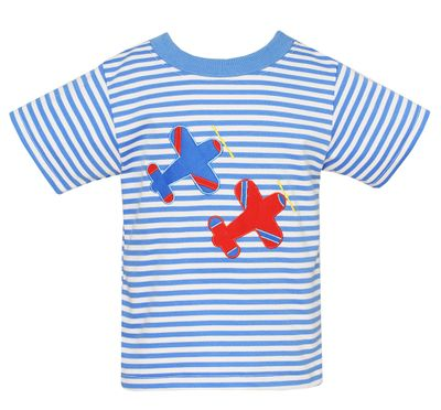 Claire & Charlie Baby / Toddler Boys Periwinkle Blue Striped Shirt - Airplanes