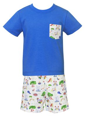 Claire & Charlie Baby / Toddler Boys Playground Print Shorts with Blue Shirt