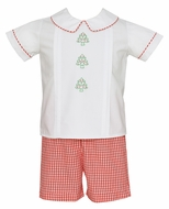 Claire & Charlie Baby / Toddler Boys Red Check Embroidered Christmas Trees Short Set