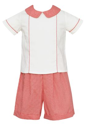 Claire & Charlie Baby / Toddler Boys Red Gingham / Winter White Corduroy Shorts Set
