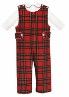 Claire & Charlie Baby / Toddler Boys Red Holiday Plaid Longall with Piped Shirt