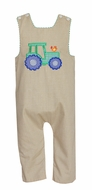 Claire & Charlie Baby / Toddler Boys Reversible Longall - Tan Khaki Check with Tractor Reverses to Green Check
