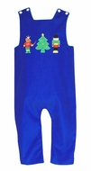Claire & Charlie Baby / Toddler Boys Royal Blue Corduroy Reversible Nutcracker Longall - Reverses to Green Check