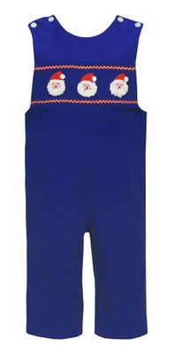 Claire & Charlie Baby / Toddler Boys Royal Blue Corduroy Smocked Crochet Santa Longall