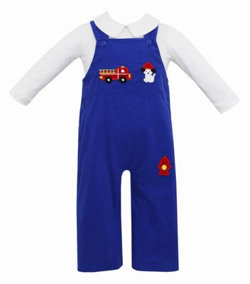 Claire & Charlie Baby / Toddler Boys Royal Blue Corduroy Longall with Shirt - Firetruck