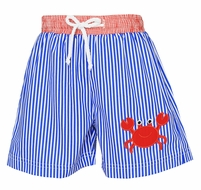 Claire & Charlie Baby / Toddler Boys Royal Blue Stripe / Red Crab Swim Trunks