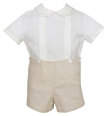 Claire & Charlie Baby / Toddler Boys Tan Khaki Linen Button On Shorts Set
