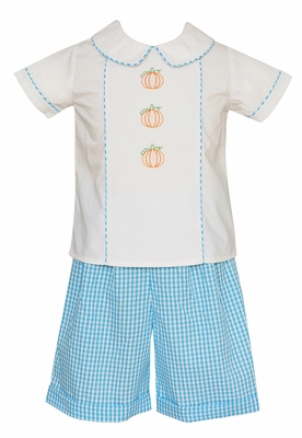 Claire & Charlie Baby / Toddler Boys Turquoise Check Shorts with Embroidered Pumpkins Shirt