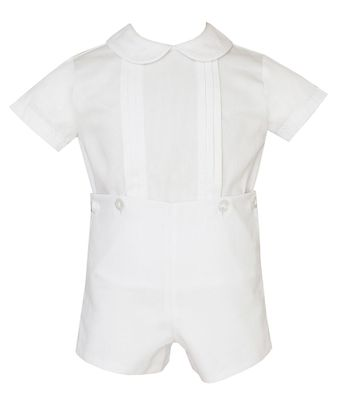 Claire & Charlie Baby / Toddler Boys White Pique Button On Shorts Set