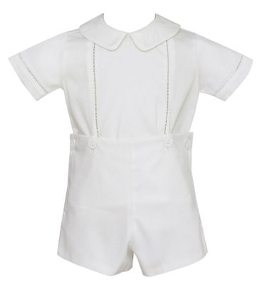 Claire & Charlie Baby / Toddler Boys White Pique Dressy Short Set
