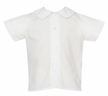 Claire & Charlie Baby / Toddler Boys White Shirt - Button Front - Short Sleeves