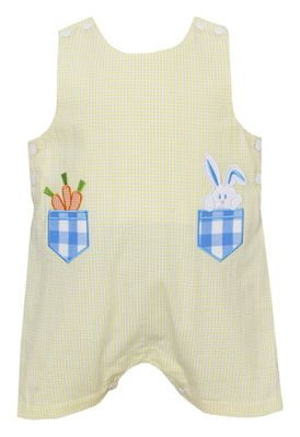 Claire & Charlie Baby / Toddler Boys Yellow Check Seersucker Easter Bunny Pockets Shortall