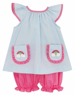 Claire & Charlie Baby / Toddler Girls Blue Check Rainbow Pockets Pink Bloomers Set