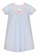 Claire & Charlie Baby / Toddler Girls Blue Check Easter Bunny Dress