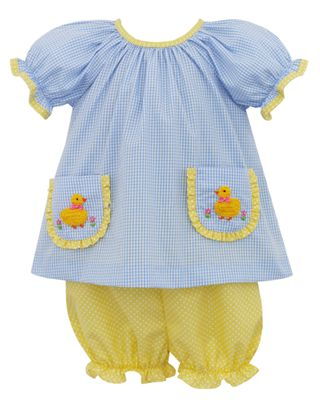 Claire & Charlie Baby / Toddler Girls Blue Check / Yellow Duck Pockets Bloomers Set