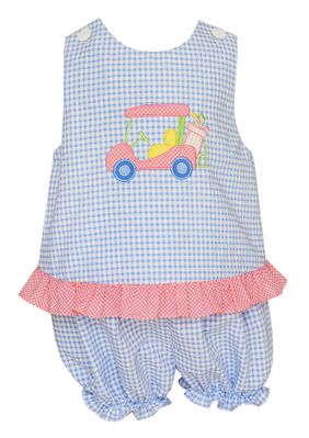 Claire & Charlie Baby / Toddler Girls Blue Gingham Seersucker Golf Bloomers Set