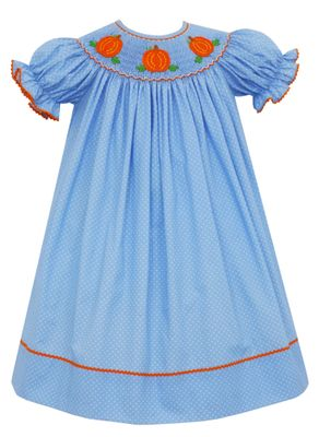 Claire & Charlie Baby / Toddler Girls Blue / White Dots Smocked Crochet Pumpkins Bishop Dress