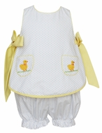 Claire & Charlie Baby / Toddler Girls White / Blue Dots Bloomer Set - Yellow Bows - Crochet Duckies Pockets