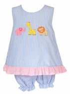 Claire & Charlie Baby / Toddler Girls Blue Stripe Safari Animals Bloomer Set - Pink Bow on Back!