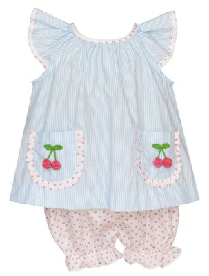 Claire & Charlie Baby / Toddler Girls Blue Stripe / Pink Dots Cherry Pockets Bloomer Set