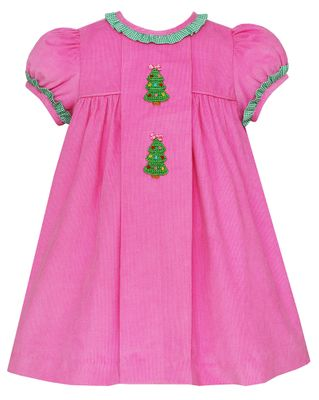 Claire & Charlie Baby / Toddler Girls Bubblegum Pink Corduroy Christmas Trees Float Dress