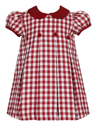 Claire & Charlie Baby / Toddler Girls Burgundy Check Dress with Pleats