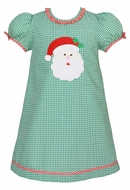 Claire & Charlie Baby / Toddler Girls Green Check Dress - Ruffle Collar - Applique Santa Claus