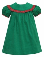 Claire & Charlie Baby / Toddler Girls Green Corduroy Float Dress - Red Plaid Trim