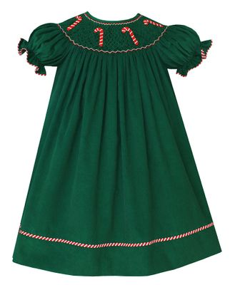 Claire & Charlie Baby / Toddler Girls Green Corduroy Smocked Candy Canes Dress - Bishop