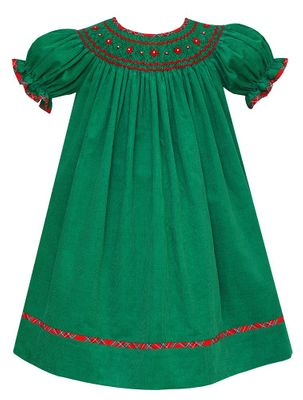 Claire & Charlie Baby / Toddler Girls Green Corduroy Smocked Christmas Bishop Dress