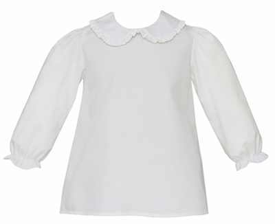 Claire & Charlie Baby / Toddler Girls White Blouse with Ruffle Collar