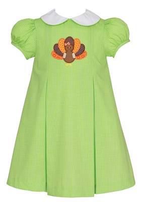 Claire & Charlie Baby / Toddler Girls Lime Green Check Thanksgiving Turkey Dress