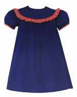 Claire & Charlie Baby / Toddler Girls Navy Blue Corduroy Float Dress - Round Collar with Red Plaid Trim