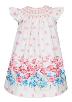 Claire & Charlie Baby / Toddler Girls Pink Dots / Blue Floral Smocked Bishop Dress