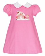 Claire & Charlie Baby / Toddler Girls Pink Corduroy Dress - Collar - Holiday Gingerbread House