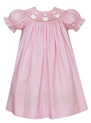 Claire & Charlie Baby / Toddler Girls Pink / White Dots Smocked Bunny Faces Dress