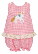 Claire & Charlie Baby / Toddler Girls Pink Gingham Seersucker Unicorn Bloomers Set