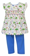 Claire & Charlie Baby / Toddler Girls Playground Print Smocked Top with Blue Leggings
