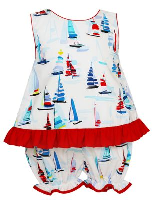 Claire & Charlie Baby / Toddler Girls Red / Blue Sailboat Bloomers Set - Big Red Bow on Back