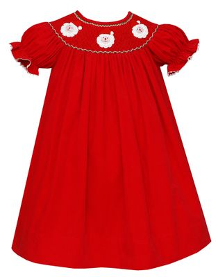 Claire & Charlie Baby / Toddler Girls Red Corduroy Smocked / Crochet Santa Faces Dress - Bishop