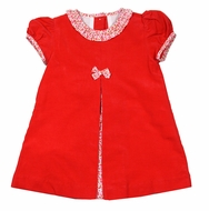 Claire & Charlie Baby / Toddler Girls Red Corduroy Dress with Red Floral Front Pleat