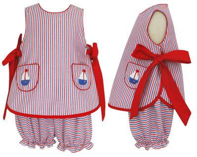 Claire & Charlie Girls Red / Blue Stripe Bloomers Set - Crochet Sailboat Pockets - Red Bows at Sides