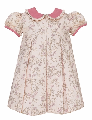 Claire & Charlie Baby / Toddler Girls Rose Pink Bird Toile Dress - Ruffle Collar