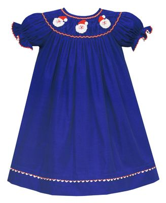 Claire & Charlie Baby / Toddler Girls Royal Blue Corduroy Smocked Crochet Santa Faces Dress - Bishop