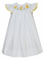 Claire & Charlie Baby / Toddler Girls White / Blue Dots Bishop Dress - Crochet Yellow Duckies